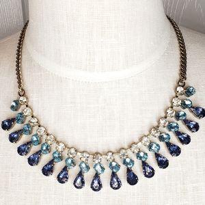 J. Crew blue stone crystal statement necklace